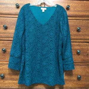 Charter Club Lace Overlay Bell Sleeve Top